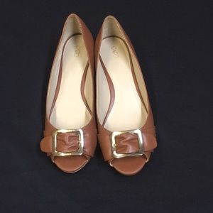 Brown Cato Wedge Flats.